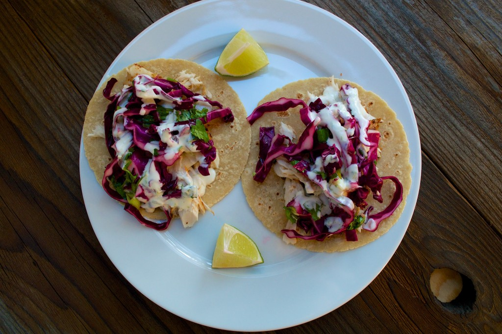 fish tacos with slaw and crema