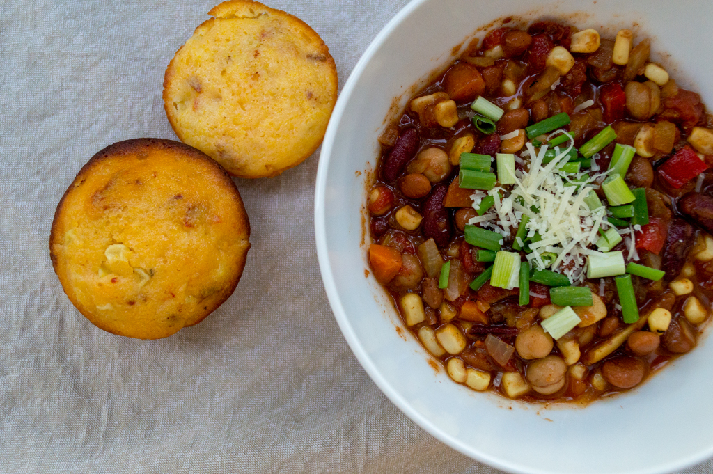 Vegetarian chili filled with legumes and fresh veggies that satisfies vegans and meat eaters alike.