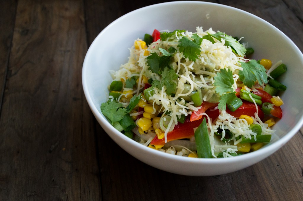 Veggie Burrito Bowl - Build a burrito bowl with rice beans, veggies and toppings! Feel free to use any type of vegetables you like best and try different toppings. | cookinginthecreek.com