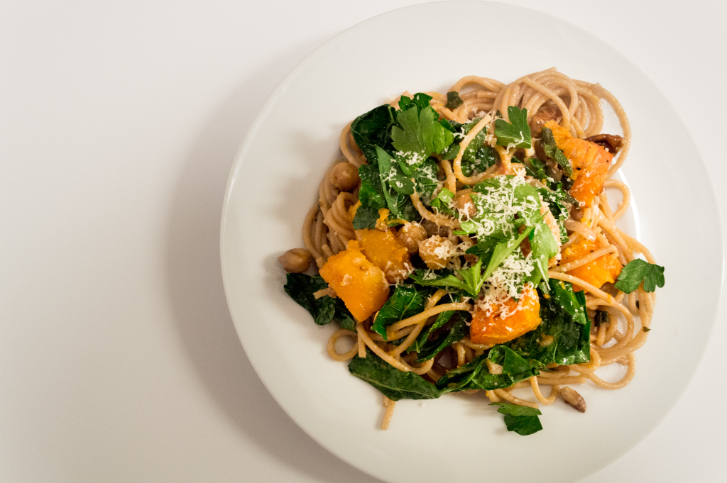 The whole wheat pasta tossed in delicious autumn flavors, with butternut squash, fresh sage, leafy greens and pecans. | cookinginthecreek.com