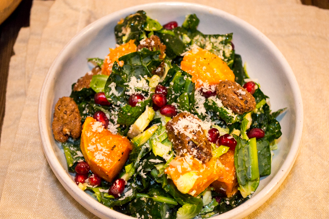 The perfect autumn salad, great for potlucks or Thanksgiving dinner! Filled with nutritious kale, brussel sprouts, and butternut squash. | cookinginthecreek.com